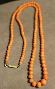Vintage In Seattle Lot#  397 antique real orange coral beads necklace