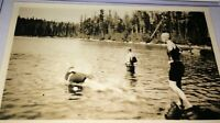 Rare Antique Western American Vacation, Action Shot Swimming Lake Snapshot Photo