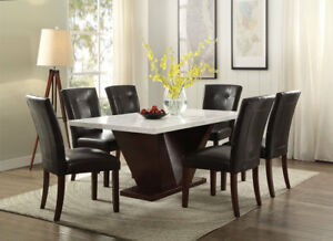 7pcs Acme Forbes White Marble & Walnut Top Dining Room Set (table+6pcs Chair )