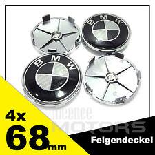 4x68mm SATZ für BMW Schwarz-Carbon Logo FELGENDECKEL Emblem 5pin  1-7er, x3, x5