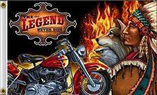The Legend Never Dies Flag 3x5 ft Motorcycle Indian Eagle Bike Biker Bar Banner