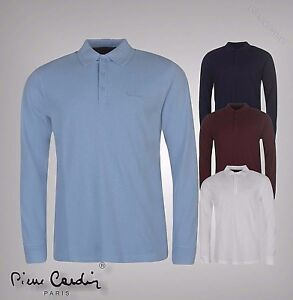 Mens Pierre Cardin Plain Casual Top Cotton Long Sleeve Polo Shirt Sizes S-XXXL