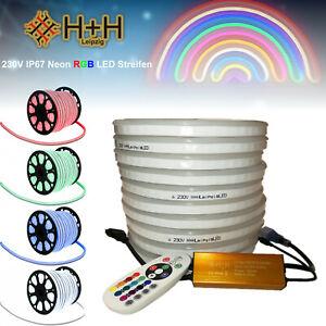 2-50M 230V Neon RGB LED Streifen Strip Band 80LEDs/M IP67 Controller dimmbar