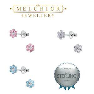 Sterling Silver Flower Stud Earrings Gift Boxed Girls Childrens
