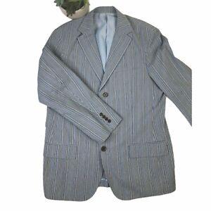 Martin Gordon Mens Seersucker Blazer Sportscoat Size XL Blue Gray Striped