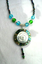 42mm M-o-p + Abalone shell pendant + glass beads, 21''