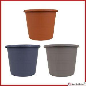 ROUND PLASTIC PLANT POT 24cm Flower Basket Nursery Garden Pot Tub Planter G8810