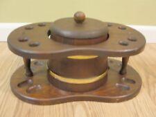 Vintage Smoking Pipe Tobacco Stand Wood Barrel Keg 8-spot w/ Lid