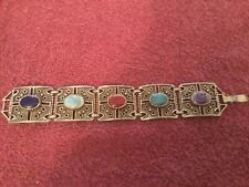 Vintage 5 Colored Stone Fashion Bracelet