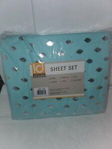 Intelligent Design Blush Metallic Dot Printed twin Size Sheet Set (H2)