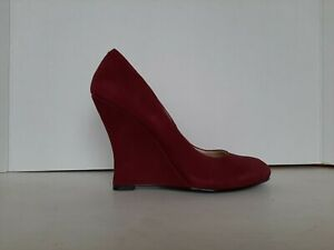 """Nine West Women's Shoes Size 6.5 M Burgundy Suede 4"""" Wedge Slip On Round Toe"""