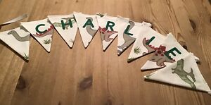 PERSONALISED LAURA ASHLEY DINOSAUR NAME FABRIC BUNTING - BOYS & GIRLS