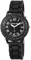 Excellanc Damenuhr Schwarz Analog Strass Silikon Armbanduhr Quarz D-225821000003