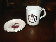 2  Queen Elizabeth Silver Jubilee PIN DISH Lord Nelson Pottery MUG By Churchill