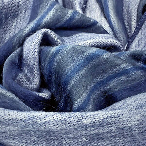 """Soft and Warm Blue Striped ALPACA Wool Throw Brushed Blanket 90"""" X 65"""" QUEEN"""
