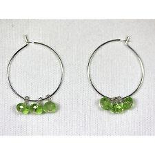 with Crystals Silver Hoop Earrings