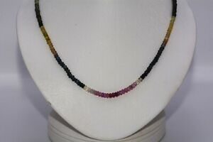 $1,500 51.56CT NATURAL RONDELLE CUT MULTI-COLOR SAPPHIRE STRAND NECKLACE 14K