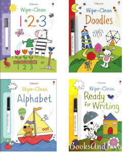 Usborne Wipe Clean Doodles,123, Alphabet, Ready for Writing (4 Paperbacks) NEW