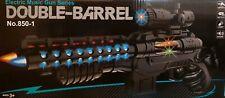KIDS CHILDEREN LASER DOUBLE BARREL GUN TOY MULTICOLOR LIGHTS SOUND VIBRATION GUN