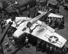 WW2 WWII Photo F6F Hellcat Upside Down on Carrier US Navy World War Two / 7158