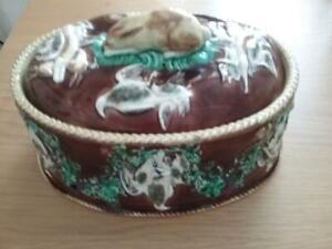 Rare Antique  Wedgwood Majolica  Game  Pie / Casserole Dish Tureen