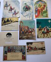 Wise Men Camels Star of Bethlehem Artwork Theme Vintage Christmas Cards Lot of 9