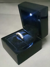 Black Wood Ring Box with LED Light. Wedding Ring Box or Engagement Ring Box