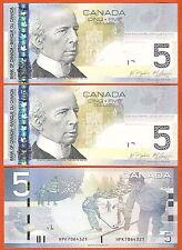 P101Ad   Kanada SET 2x  5 $  2006/10 UNC Präf. HPK    2 Stück