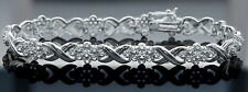 Women's Genuine 2.00 CTW Diamond 14K White Gold Finish Flower Tennis Bracelet