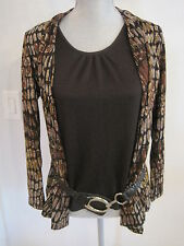 NWOT Elements Black Shell & Black/Brown & Metallic Jacket with a belt Size PS