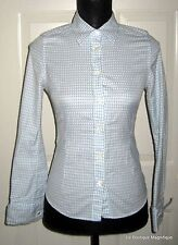 TED BAKER LONDON BLUE AND WHITE SHIRT FRENCH CUFFS  SIZE 1 (US SIZE 4)