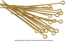 "(20) 22k Gold Plated Open Eye Pins 1 1/2"" Long 22 Gauge Wire Beading Jewelry"