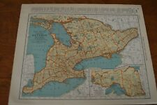 1937 Map of Ontario - Map of Southern Quebec On Reverse - Main Railroads Shown