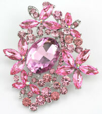 Cluster Bridal Wedding Brooch Pin Pink Fancy Austrian Rhinestone Crystal