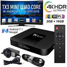 UK 2018 TX3 Mini 2GB+16GB Android 7.1 Quad Core TV Box 17 HD Media Player WIFI
