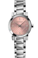 NEW BURBERRY BU9223 LADIES SILVER CHECK DIAL, CRYSTALS WATCH - 2 YEARS WARRANTY