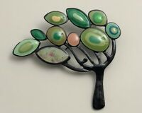 Unique Tree Brooch Pin in enamel on metal