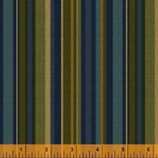 Windham Kensington FLANNEL Navy Blue Green Olive Stripe Plaid Quilt Fabric Yard