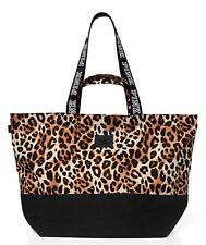 NIP VICTORIA'S SECRET PINK Logo Leopard Double Strap Tote Bag Weekender Zip Top