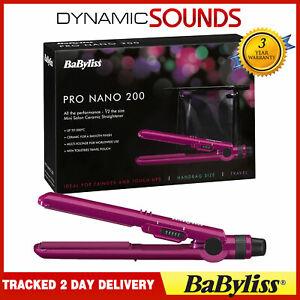 BaByliss Nano Pro 200C Hair Straightener Ceramic World Voltage Travel Pouch Pink