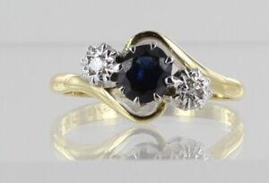 18ct sapphire and diamond 3 stone ring ref AMJ100   99p Start NR not scrap gold