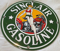 VINTAGE SINCLAIR GASOLINE PORCELAIN PIN UP SIGN INDIAN MOTORCYCLE OIL GAS PUMP