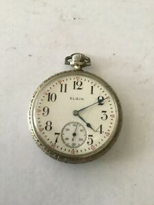 1930s ELGIN OPEN FACED working 7 jewels NICKEL PLATED POCKET WATCH