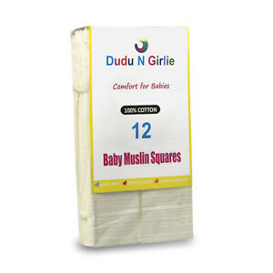 12 Cream Large Supreme Quality Muslin Squares, Burp Cloths 100%cotton, 70 x 70cm