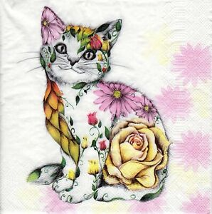 4x PAPER NAPKINS for Decoupage FLORAL SMILING KITTY Cat Flowers