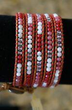 NEW Chan Luu Crystal White Red Semi Precious Stone Mix 5 Wrap Bracelet Leather
