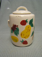 "Vintage McCoy Art Pottery Painted Fruit Cookie Jar 10"" tall GUC"