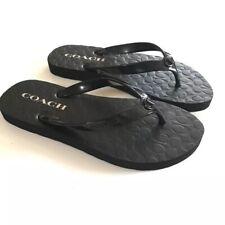 a579f047b0e7 COACH Flip-flop Sandals Black Flat Shoes WOMAN size 7 New