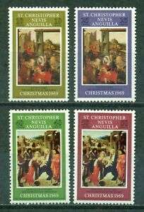St. Kitts-Nevis Scott #202-205 MNH Christmas 1969 ART $$