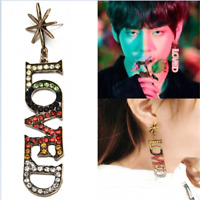 Kpop BTS V Colorful LOVED Letter Dangle Earrings Chic Fashion Ear Stud Jewelry